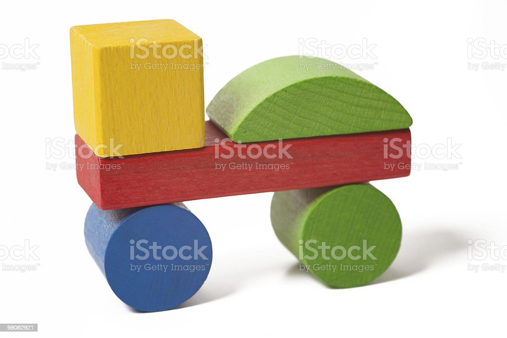 car from colorful wooden toy blocks royalty-free stock photo