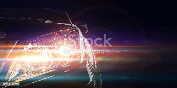 istock Car front lighting 686478956