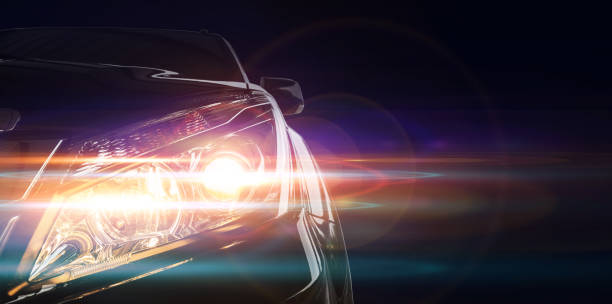 Car front lighting Front of a sports car headlight stock pictures, royalty-free photos & images