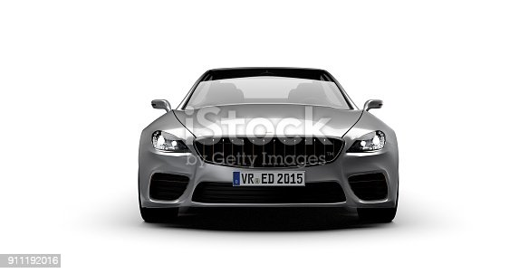 front view of luxury car, isolated on white, car of my own design, legal to use. Photorealistic render.