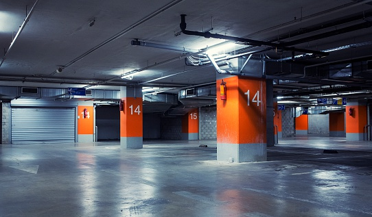 Orange car garage