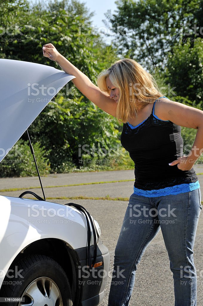 Car Gave Out, Driver Giving Up royalty-free stock photo