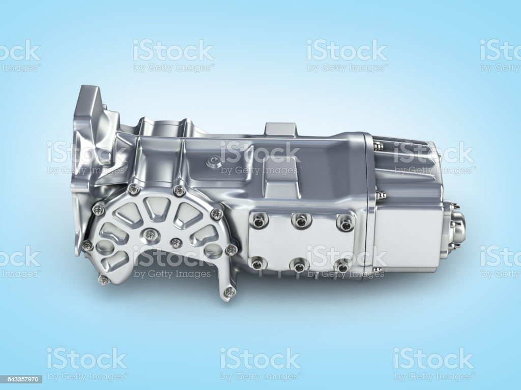 car gearbox on blue gradient background 3D illustration stock photo