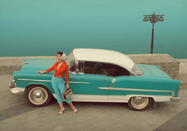 car girl - pin up girl stock pictures, royalty-free photos & images