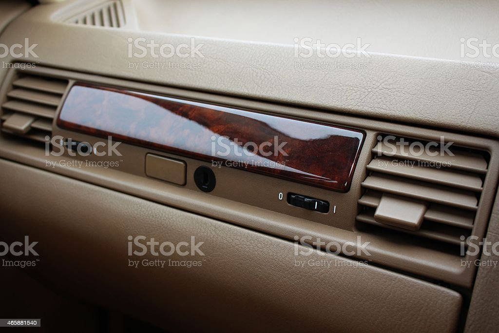 Car glove compartment with air deflectors stock photo