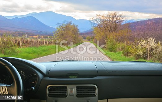 view from salon of car going on the mountain road