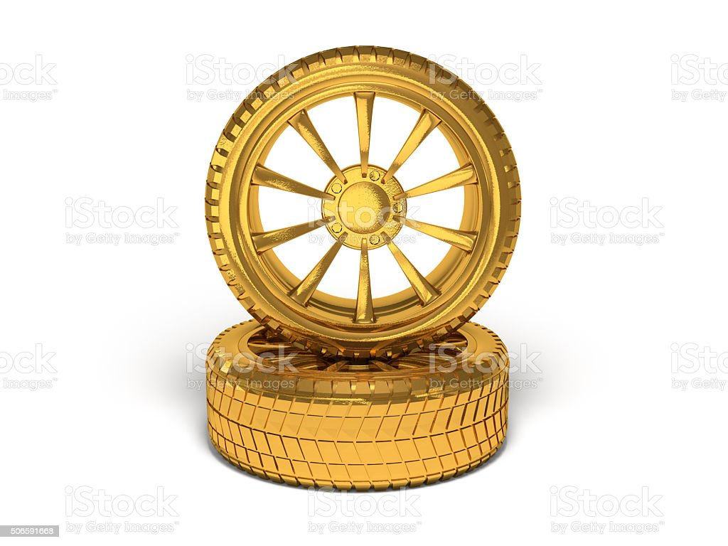 Car gold wheel 3d rendering stock photo