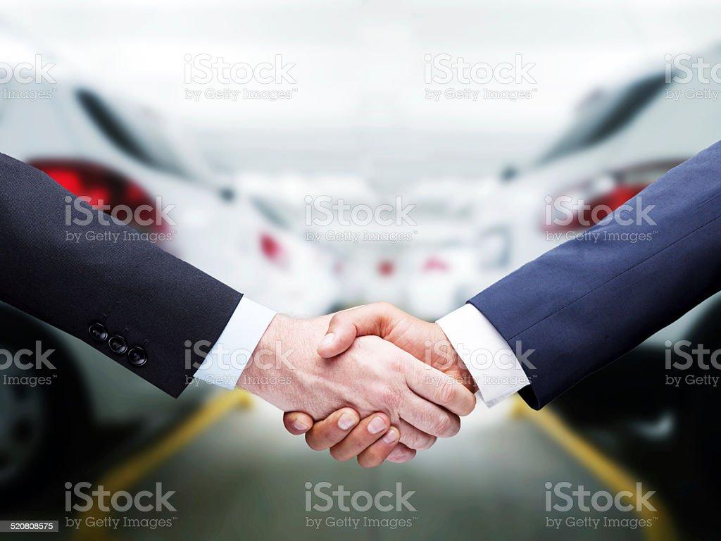 Car Handshake stock photo