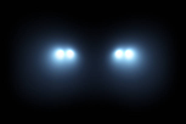 Car head lights shining from darkness background Car head lights shining from darkness background. Raster illustration lightning template. headlight stock pictures, royalty-free photos & images