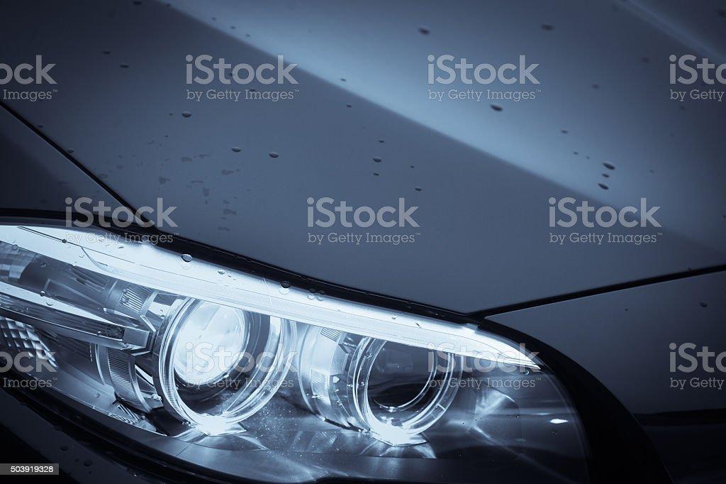 Car headlight detail stock photo