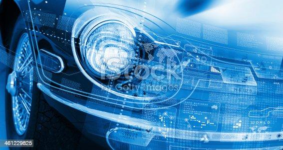 istock Car headlight 461229825