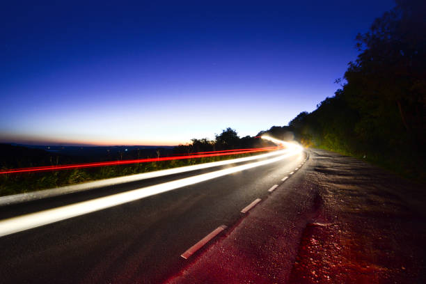 Car Headlight Trails stock photo