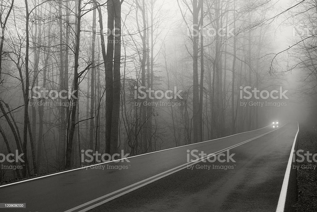 Car headlights on foggy two-lane road royalty-free stock photo
