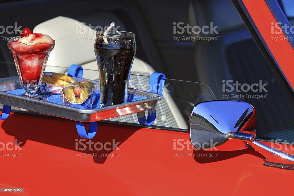 Car hop tray stock photo