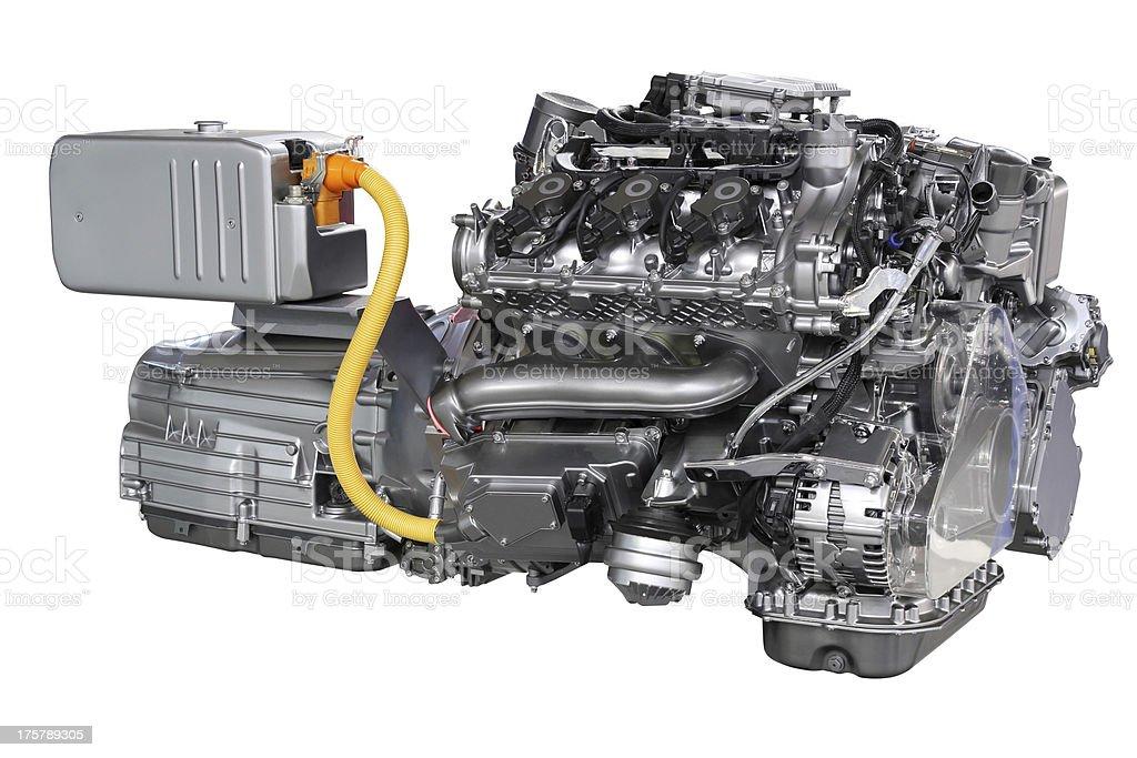 car hybrid engine isolated on white stock photo