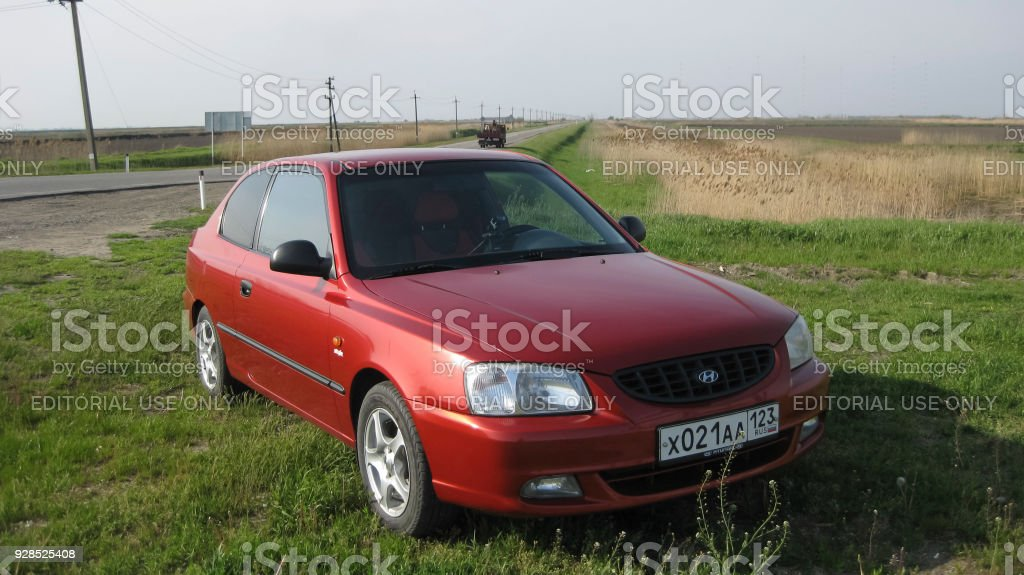 Car Hyundai Accent of the 2nd generation in performance of a three-door coupe. Three-cylinder diesel engine. stock photo