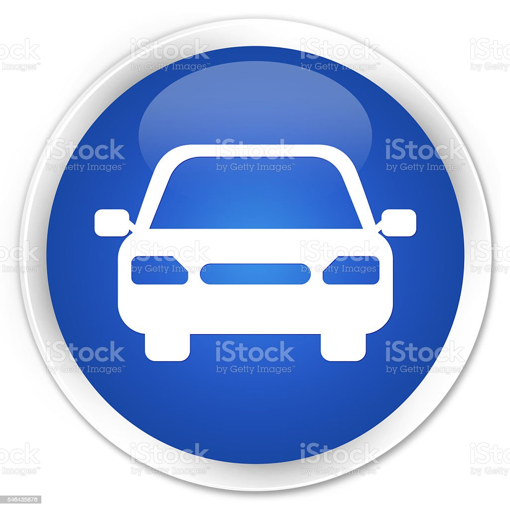 Car icon blue glossy round button stock photo
