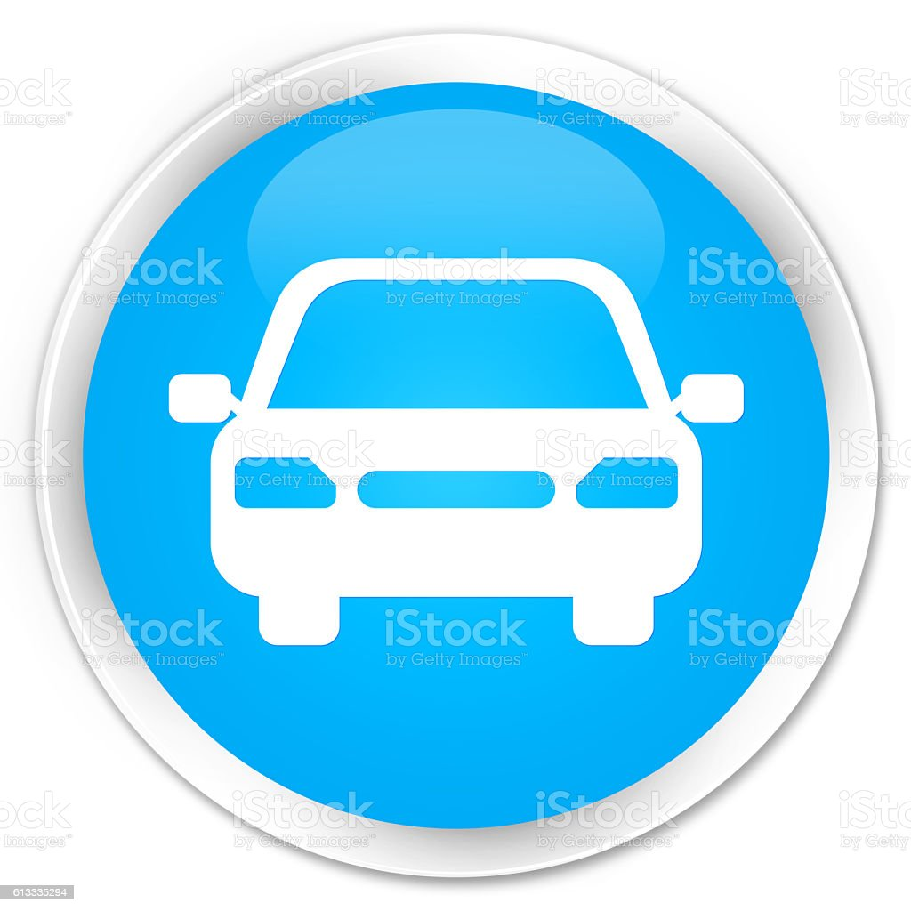 Car icon cyan blue glossy round button stock photo