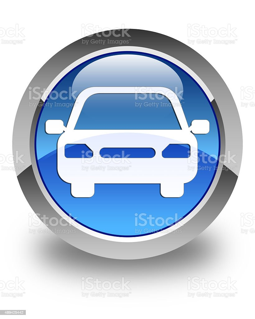 Car icon glossy blue round button stock photo