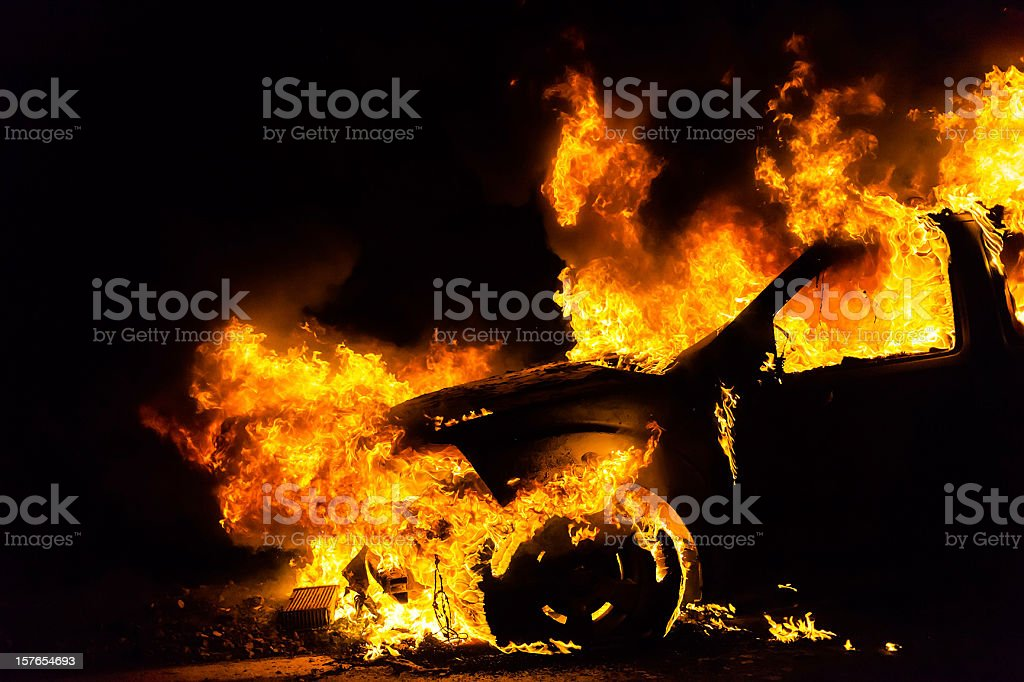 Car in fire, burning stock photo