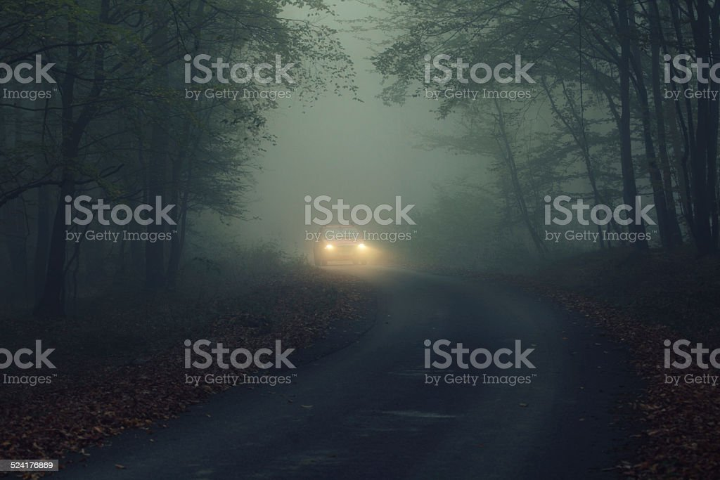 car in fogy night stock photo
