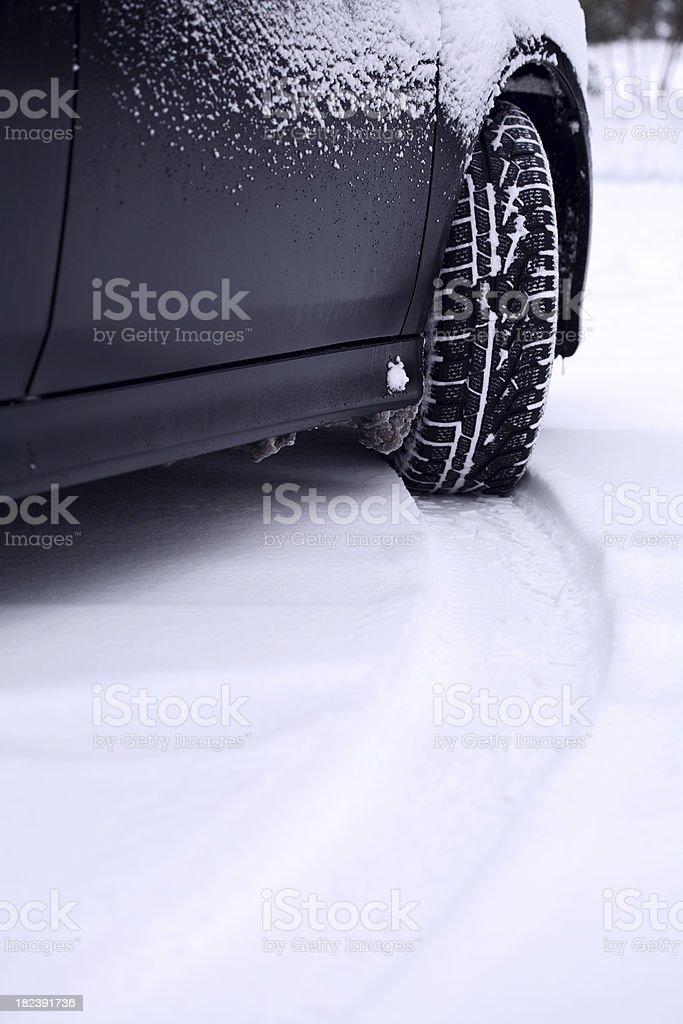 Car in fresh snow royalty-free stock photo