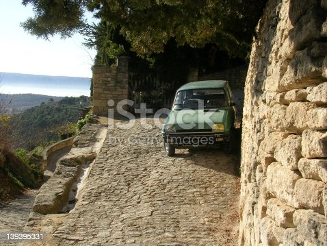 Car parked in Gordes, Provence, France