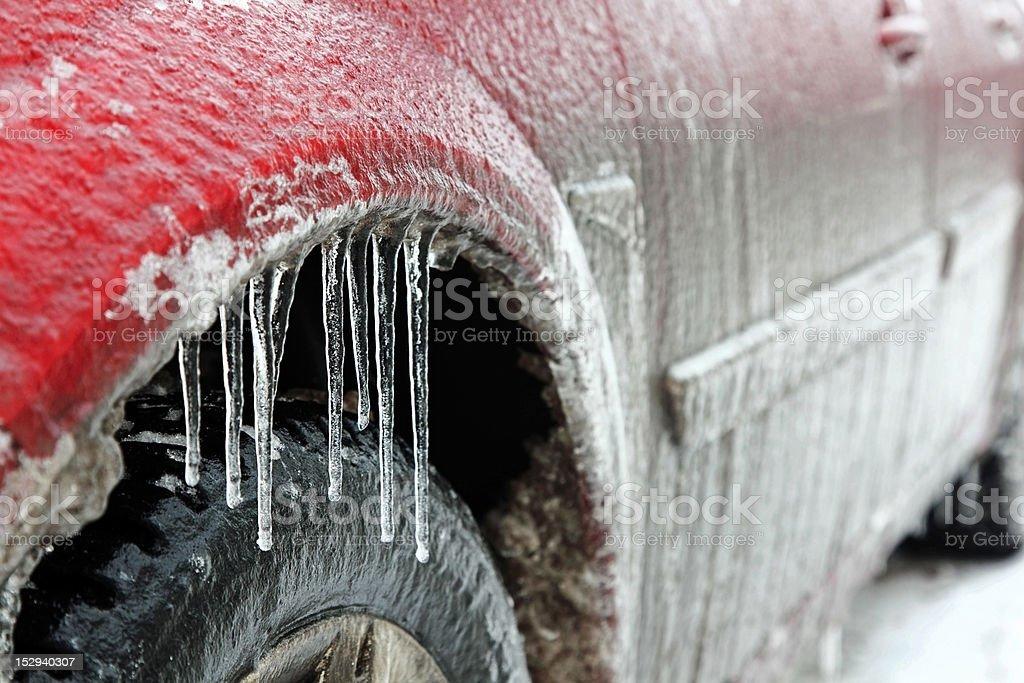 Car in ice stock photo