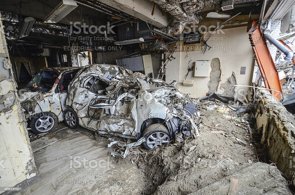 Car in Ishinomaki Hospital stock photo