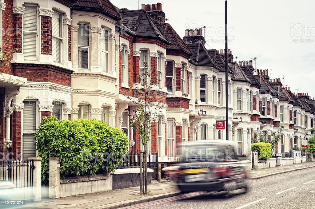 A car in motion in a city street in London royalty-free stock photo