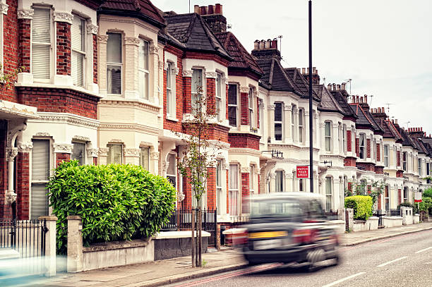 A car in motion in a city street in London stock photo