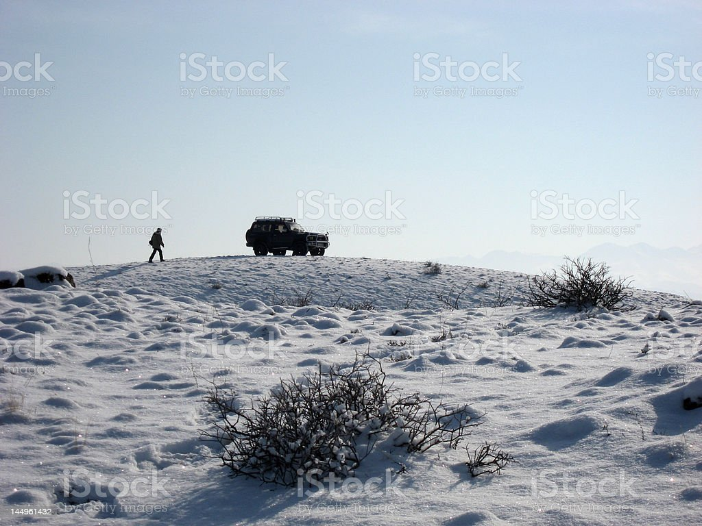 Car in mountain winter royalty-free stock photo