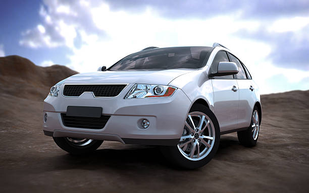 SUV car in nature Unique 3d modelled brandless, generic SUV in nature generic description stock pictures, royalty-free photos & images