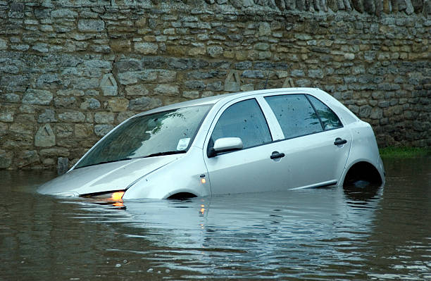 Car in rural Flooding stock photo