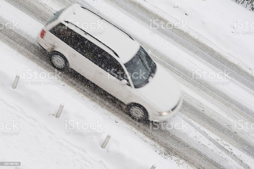Car in snow blizzard royalty-free stock photo