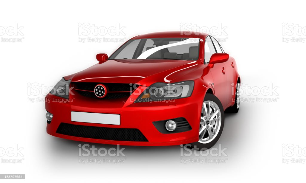 Car in studio - isolated on white with clipping path royalty-free stock photo