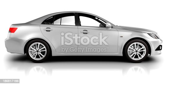 istock Car in studio side view - isolated on white 186817186