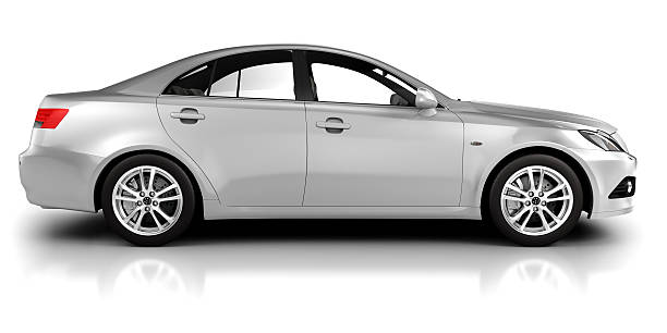 """Car in studio side view - isolated on white """"Brandless, generic modern car sideview  in studio - isolated on white"""" generic description stock pictures, royalty-free photos & images"""
