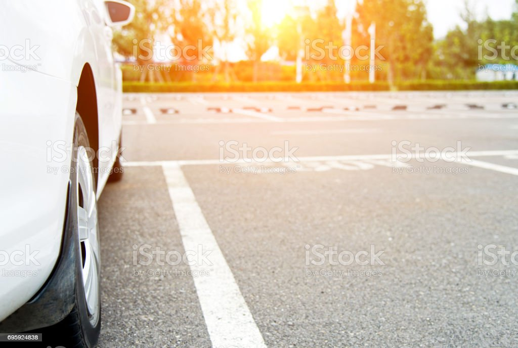 Car in the outdoor parking lot stock photo