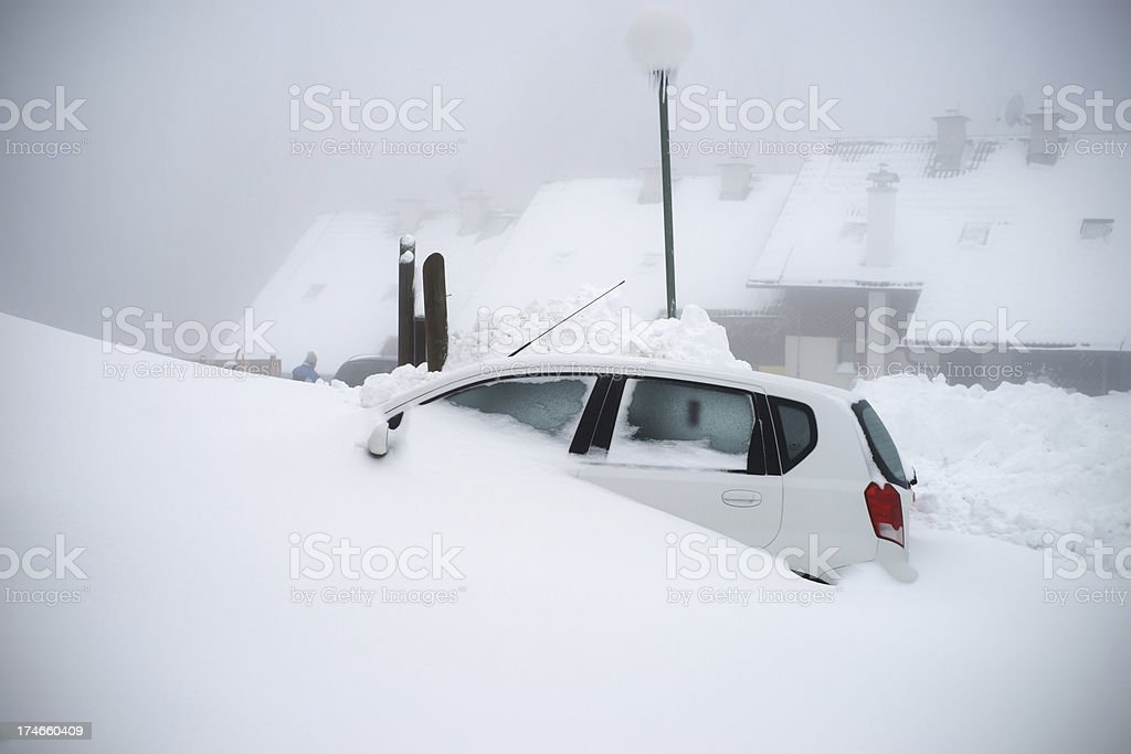 Car in the snow royalty-free stock photo