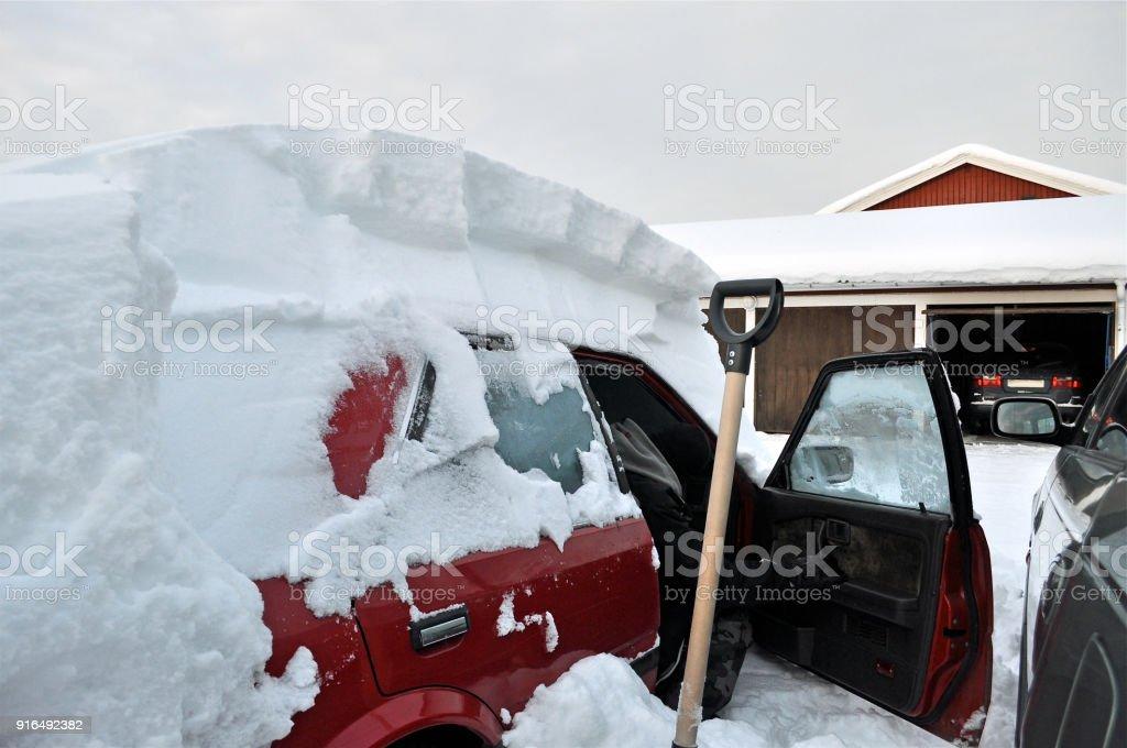 Car in winter stock photo