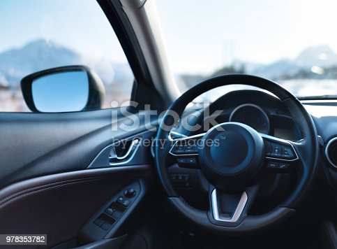 Car inside composition. Concept and idea of transportation