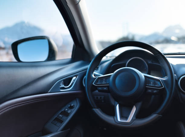 car inside composition. concept and idea of transportation - steering wheel stock photos and pictures