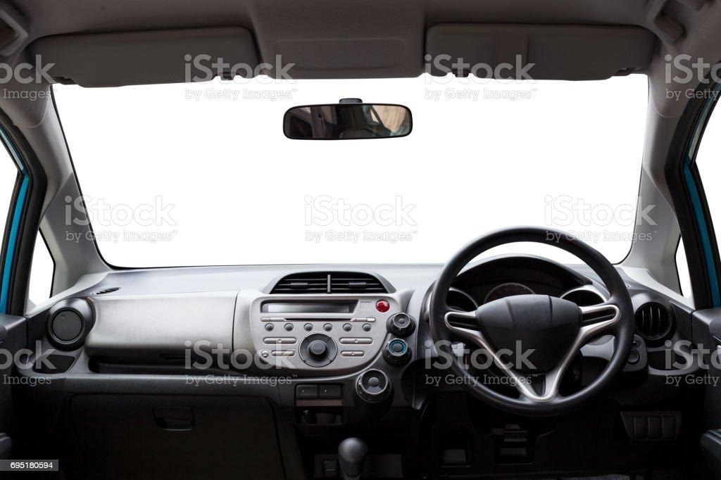 Auto im Inneren des modernen Auto isoliert weißen Hintergrund. – Foto