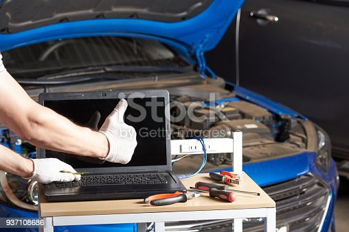 istock Car inspection garage mockup 937108686