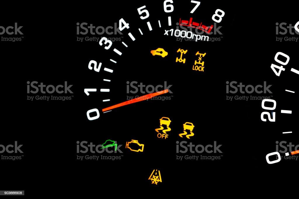 Car Instrument Panel Dashboard Closeup With Visible Speedometer And