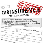 Car Insurance Application Form With Green Approved Rubber Stamp
