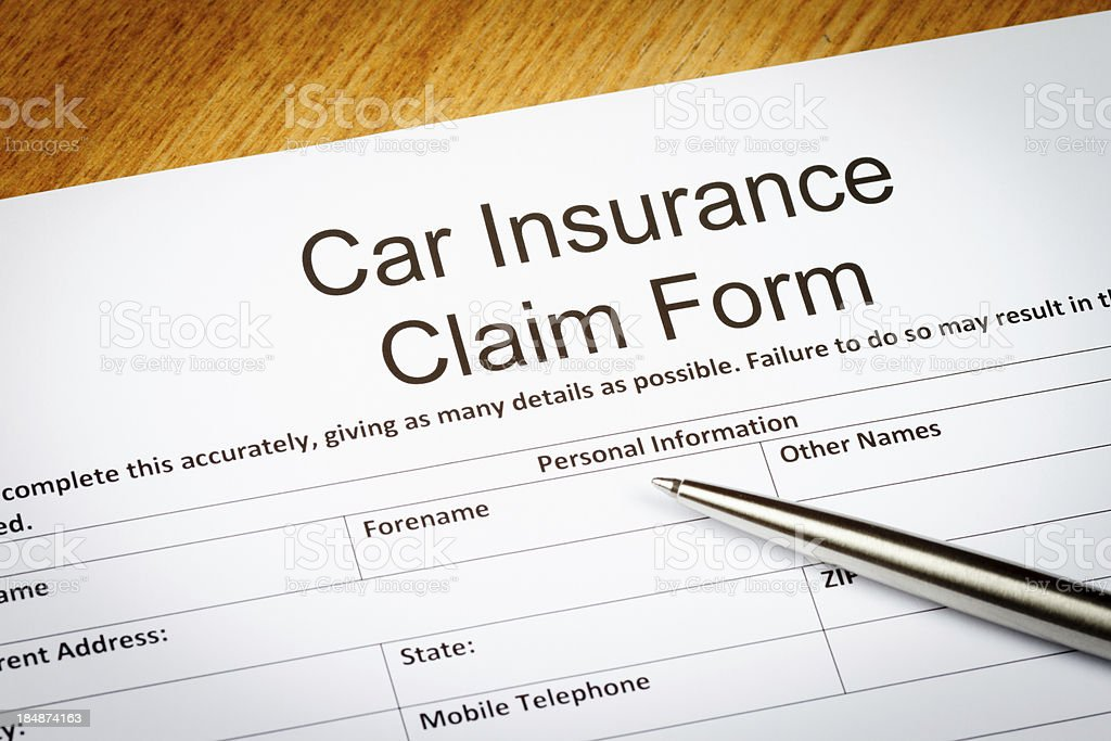 Car Insurance Claim Form stock photo