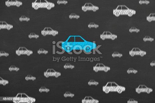 istock Car Insurance on Blackboard 484691888