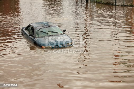 Flooded Car is Abandoned. Concepts of Car Insurance.